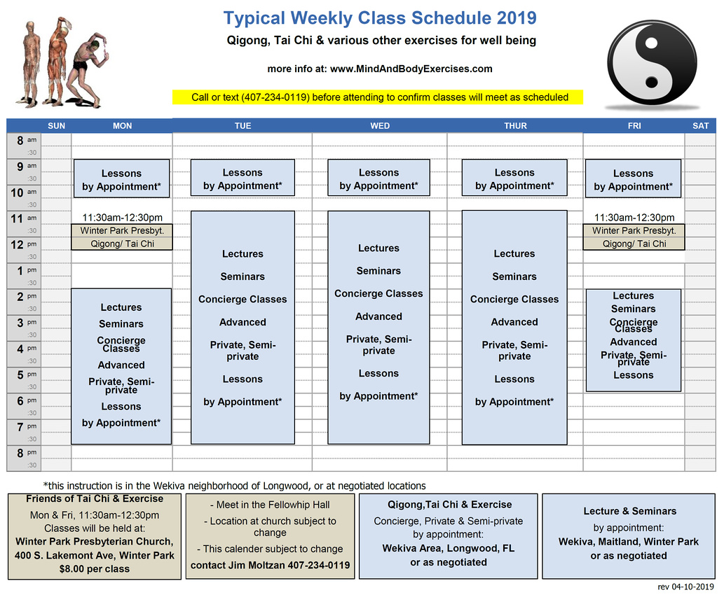 Weekly-2019-Mind & Body Class schedule
